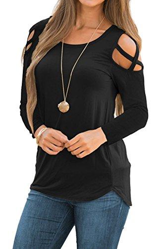 Doris Womens Casual Tunic Top Criss Cross Cold Shoulder Short Sleeve Strappy T-Shirt Tops