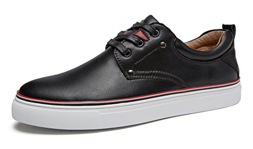 Match Leather Fashion Skateboarding Mens All Black Casual Shoes TDA Young qEwx7IBXB