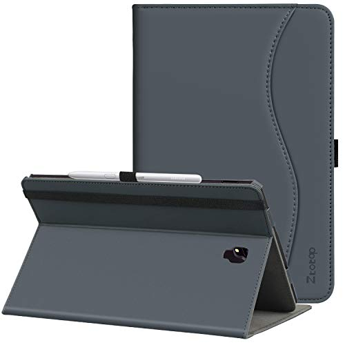 Ztotop Folio Case for Samsung Galaxy Tab S4 10.5 Inch 2018(SM-T830/T835/T837), Leather Folding Stand Cover with Auto Wake/Sleep,S Pen Holder and Multiple Viewing Angles,Grey