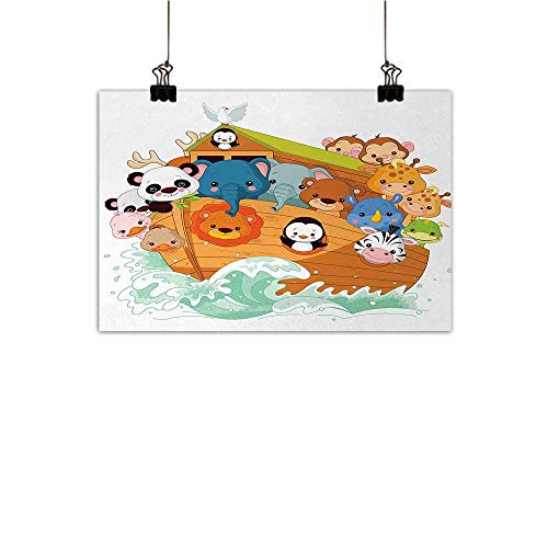 Ark Light Luxury American Oil Painting Cute Graphic Print of Figure with  Mythic Animals in Boat Ancient Story Lion Sea Home and Everything  Multicolor