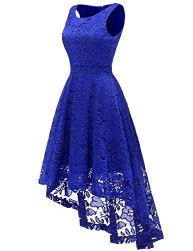 Maniche Cocktail Donna Abito Orlo Senza Da Blu Asimmetrico Fazzoletto Dresstells Vestito Pizzo dt8qnvxv