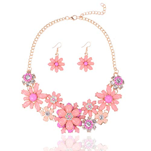 Yuhuan Flower Chunky Statement Necklace and Earring Rhinestone Costume Jewelry Set for Women (Pink-1) ()