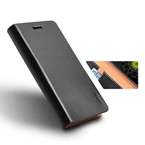Funda LG G5, Ringke [SIGNATURE] Funda del Cuero Genuino [3 ID/ranura de tarjeta] Artesanal Prima folio múltiples Monedero viajes ejecutivos Funda para LG G5 2016 - Black Black