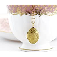 Small Oval Ornate Locket Necklace on a Delicate Gold Brass Chain