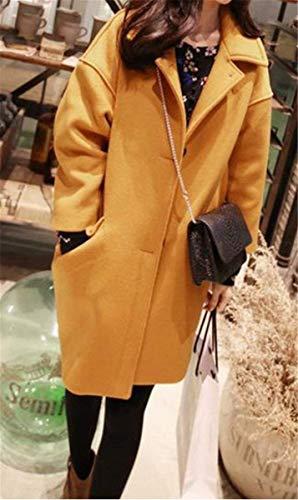 Marca Abrigos Mujer Invierno Solapa Outwear Parka Larga Delanteros Bolsillos Unicolor De Mode Manga Anchos Botonadura Gelb Cómodo Chaqueta De BOLAWOO xqvB5wfIx
