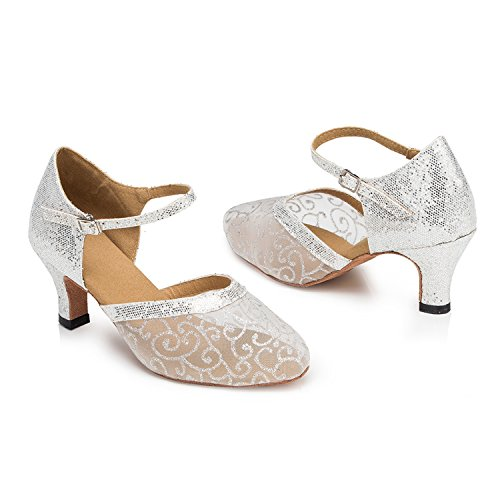 Minishion Femmes Th132 Floral Bas Talon Glitter Maille Salle De Bal De Mariage Latin Taogo Danse Pompes Chaussures Argent