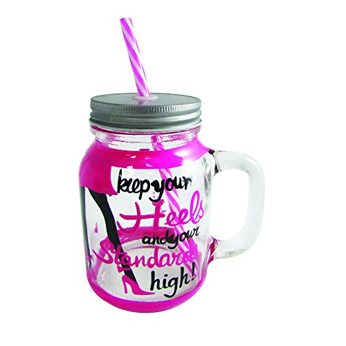 (Mason Jar Fun Hand Painted Mason Jars with Lid, Straws and Handle Glass Candy Jar and Drinking Mug (Keep Your Heels and Your Standards High))