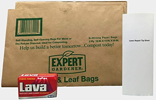 Expert Gardener 30 Gallon Paper Lawn Yard Waste Bags, Lava Heavy Duty Gardening Hand Soap Bundle for Yard Garden Clean Up and Cleaning Hands After Yard Work