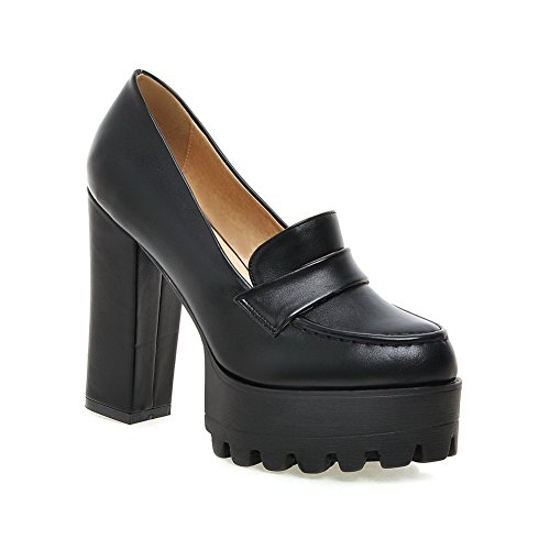 Black Shoes Chunky Pumps Thread Ladies Heels Microfiber BalaMasa Platform 810wqn