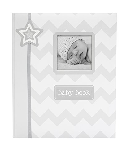 (Lil Peach First 5 Years Chevron Baby Memory Book, Memory Journal, Gray)