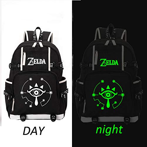 DCW The Legend of Zelda Breath of The Wild Sheikah Eye Luminous Backpack Schoolbag Cosplay Pink Bookbag Casual Game (style6) (Breath Of The Wild In Zelda Timeline)