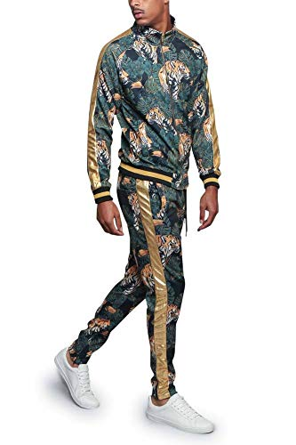 G-Style USA Royal Floral Tiger Track Suit ST559 - Black - 2X-Large - E4F