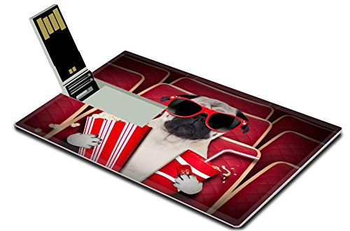 Liili 32GB USB Flash Drive 2.0 Memory Stick Credit Card Size IMAGE ID 33657235 dog watching a movie in a cinema theater with soda and popcorn wearing glasses (Soda Boxers compare prices)