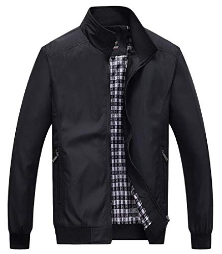 Collar Long Stand Solid Coat Pocket Zipper Outwear AngelSpace Black Sleeve Mens Oversized nxX7ZT