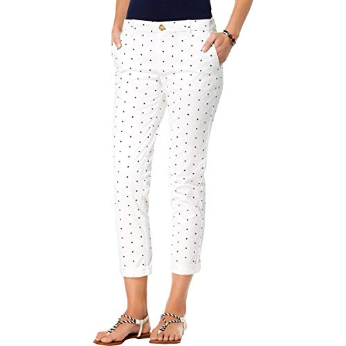Tommy Hilfiger Womens Hampton Star Print Slim Chino Pants White - Ladies Tommy Jeans Hilfiger