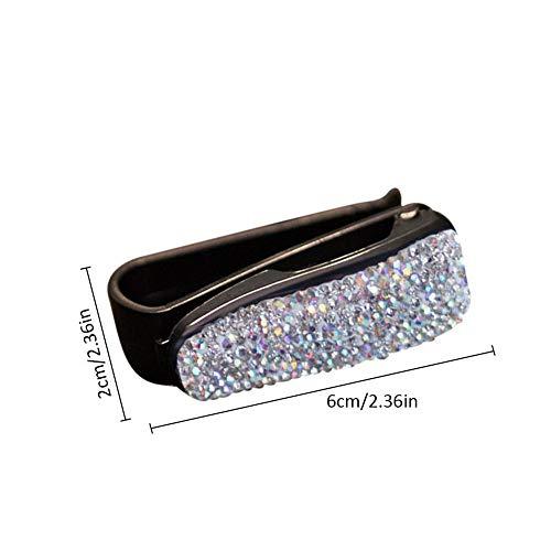 Eternitry Auto Tettuccio apribile Visiera Occhiali da Sole Clip Holder Strass Shining Crystal Glasses Bill Clamp Card Biglietto Accessori per Ragazze Donna Lady