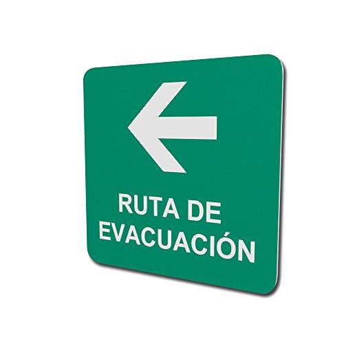 Ruta de evacuación con flecha izquierda de 150mm de ancho por 150mm de altura