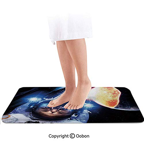 - Space Cat Bath Mat,Kitten with Space Suit Planets Nebula Supernova Eclipse Artwork,Plush Bathroom Decor Mat with Non Slip Backing,32 X 20 Inches,White Orange and Dark Blue