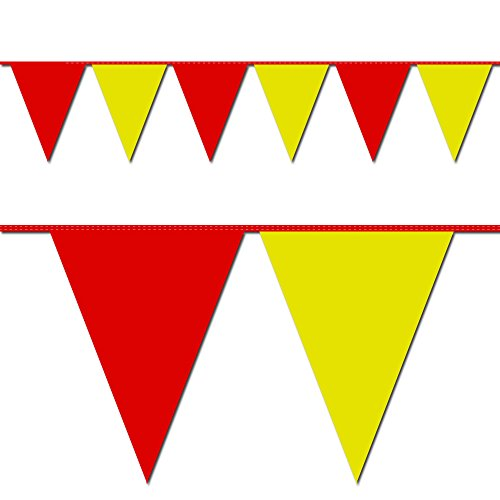 (Ziggos Party Red and Yellow Triangle Pennant Flag 100 Ft.)