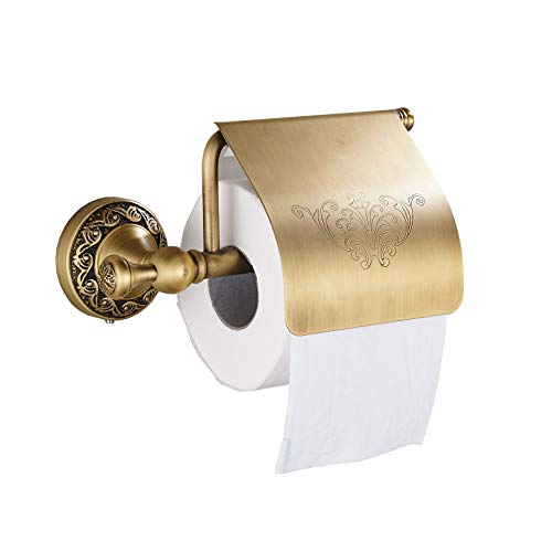 (Oulantron Antique Brass Toilet Paper Holder Roll Tissue Bracket Wall Mounted)
