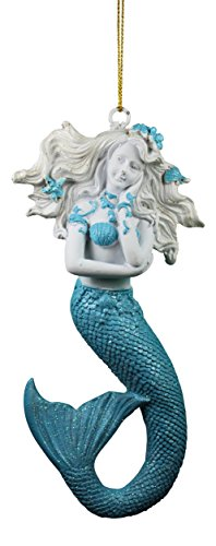 Blue and White Mermaid Christmas Holiday Ornament Resin 6.5 Inches