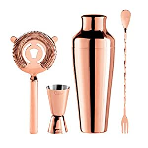 Oggi 4 Piece Stainless Steel Bartender Accessories Set-Includes Stir-Stick, Cocktail Shaker, Double Jigger and Ice Strainer, Copper