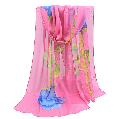 Fashion Scarfs for Women Hot Sale,DEATU Ladies Rose Long Soft Wrap Chiffon Scarf Shawl(Hot Pink) (Hermes Scarf Cashmere)