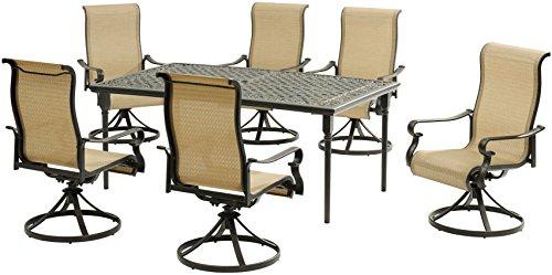 Furniture Outdoor Slingback - Hanover BRIGDN7PCSW-6 Brigantine, Tan (7 Piece) Dining Set