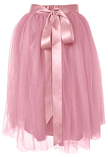 Dancina Women's Knee Length Tutu A Line Layered Tulle Skirt Plus (Size 12-22) Dirty Pink