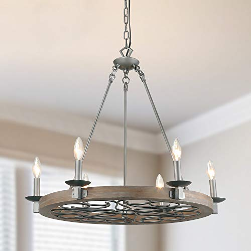 LNC 6-Light Transitional Chandelier Lighting Wood Chandelier Silver Pendant Lighting