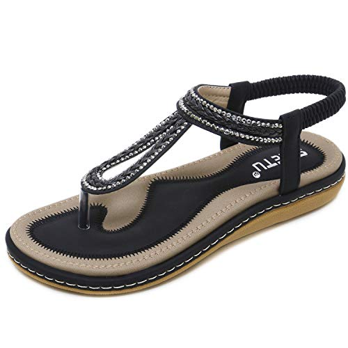 DolphinBanana Women's Bohemian Simple T-Strap Summer Flat Thong Sandals, Black Flip Flops Glitter Shiny Rhinestone Herringbone Woven Tape Shoes for Dressy Casual Jeans Daily Wear and Beach Vacation
