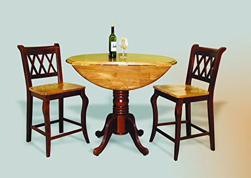"Sunset Trading 3 Piece Drop Leaf Pub Table Set with 24"" C..."