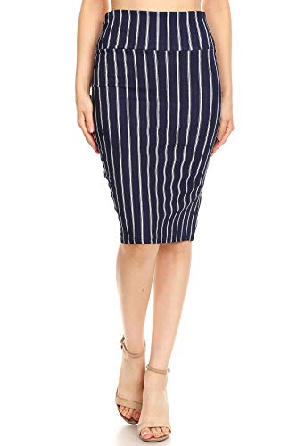 Womens Business Office Casual Stretch High Waist Solid Print Pencil Skirt Q1021-2 (2X-Large, Navy-Stripe)