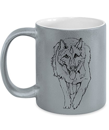 Metallic Silver German Shepherd Mug - 11oz German Shepherd Cup - German Shepherd Gifts - German Shepherd Coffee Mug