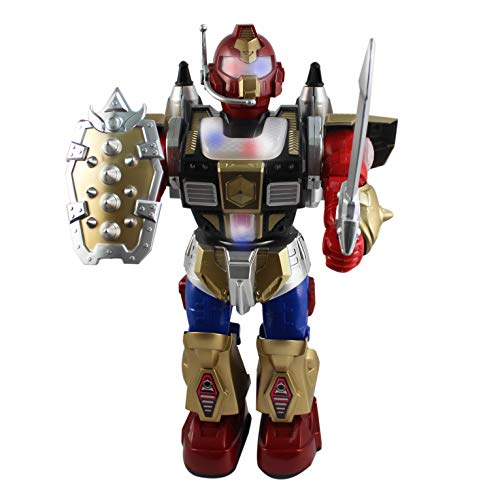 P&F Warrior Action Figure Robot with Sword & Shield Weapon - Futures Missile Launch Function, Flashing Lights, Walking & Sounds - 12