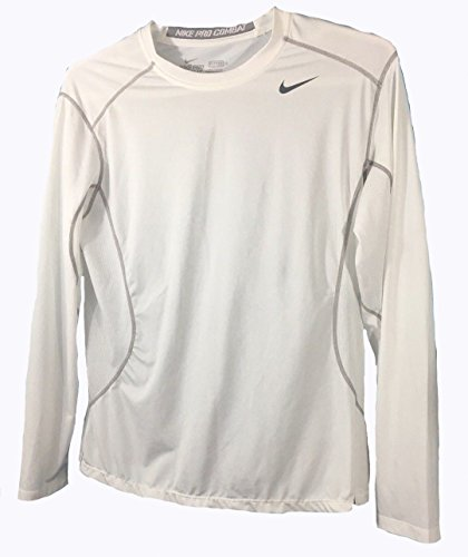 Nike Men's Pro Combat Core Fitted 2.0 Long Sleeve Shirt, White, X-Large