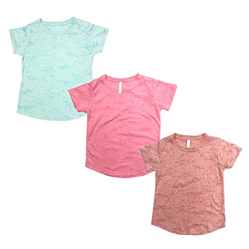 Tough Cookie's Kid's Burnout Crew Neck Tee Shirt Plain (Medium, Neon Pink/Peach/Mint)