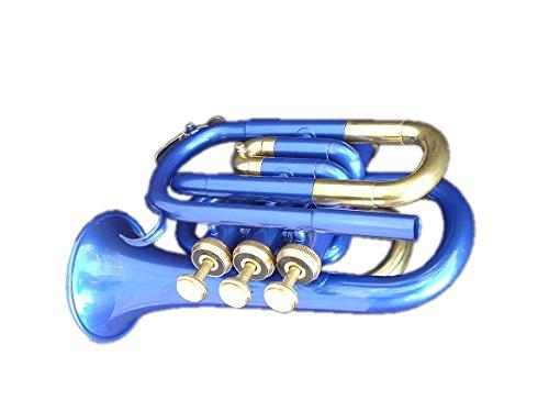 Queen Brass Pocket Trumpet Brass Made B Flat W/Case+Mp Blue by Queen Brass