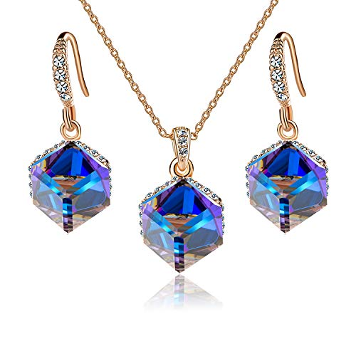 Swarovski Gold Tone Necklace - EVEVIC Colorful Cubic Swarovski Crystal Pendant Necklace Earrings Set for Women Girls 14K Gold Plated Jewelry Set (Blue Crystal/Rose Gold-Tone)