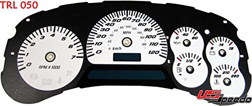 US Speedo Gauge Face Only TRL050 - Daytona Edition Gauge Faces - White / Blue Night - 120 MPH - for: Chevy Trailblazer, Envoy