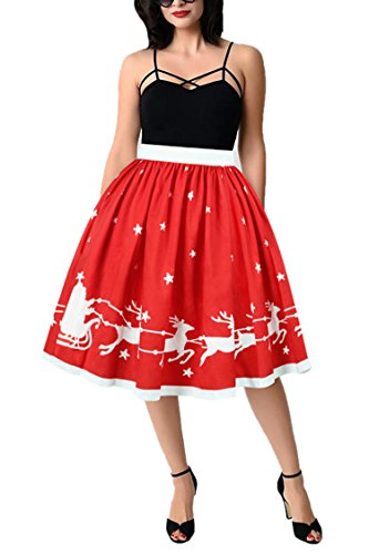 Pleat Skirt Dress (PinkWind Women Funny Christmas Waisted Pleat Puff Half Skirts Dresses Red Medium)
