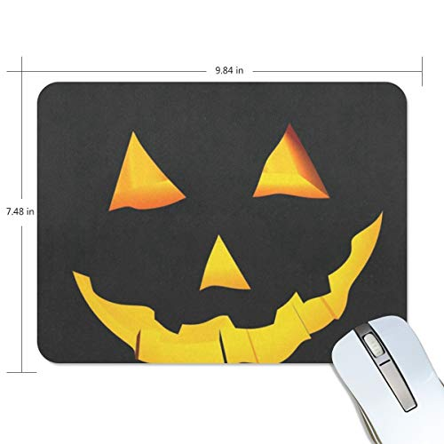 Funny Mouse Pad mice pad Personalized Scary Face Carved Halloween Pumpkin Rectangle Shape Nonslip Rubber Backing for Office Computer -