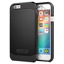"iPhone 6 4.7"" Case [Scorpio R5] Premium Protection Cover w/ Screen Guard (Black)"