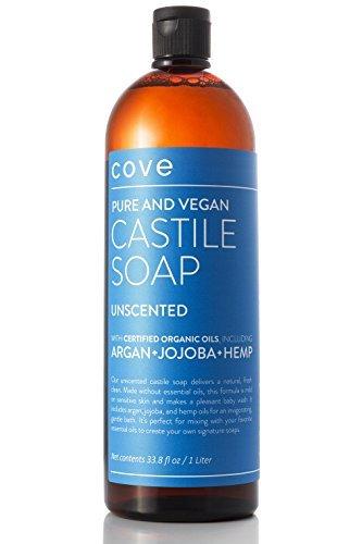 Cove Castile Soap - Unscented 33.8 oz / 1 Liter - Organic Argan, Hemp, Jojoba Oils