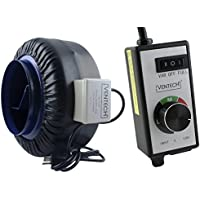 VenTech VT IF-8-B Inline Exhaust Blower Fan with Variable Speed Controller, 720 CFM, 8