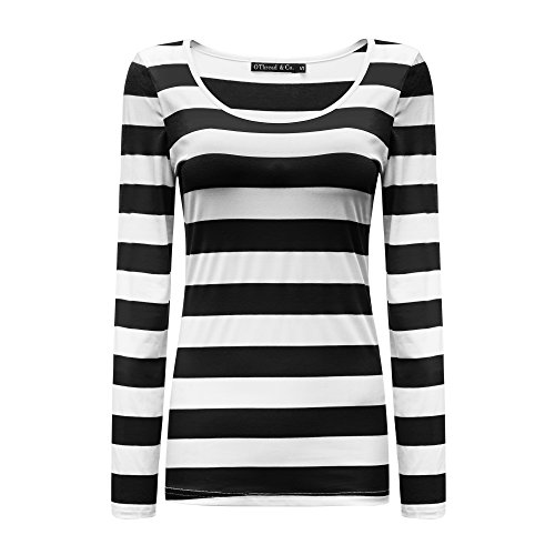 OThread & Co. Womens Long Sleeve Striped T-Shirt Basic Scoop Neck Shirts (Small, Black&White)