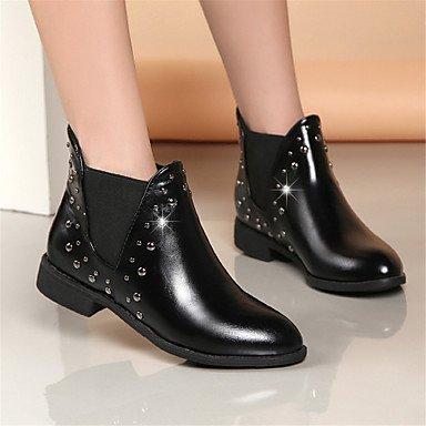RTRY EU37 Casual De De UK4 Mujer De 5 Lace Botines Cuero Invierno Botas Y 5 Negro Botines Moda Botas Piel Para Rojo Up Forro Zapatos 7 De De CN37 5 Combate US6 Botas rf1xq5Orw