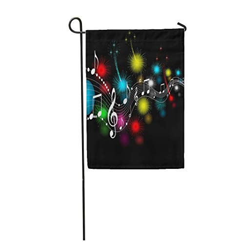 Semtomn Garden Flag 12x18 Inches Print On Two Side Polyester Brown Music Musical Notes Red Abstract Light Ray Artistic Classical Home Yard Farm Fade Resistant Outdoor House Decor Flag -