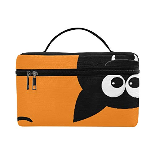 Halloween Orange Scary Eye Flying Bat Large Capacity Size Lady Cosmetic Bag Makeup Organizer Lunch Box Train Toiletry Case For Girls Teen Women Travel With Clear Zipper And Single Layer ()