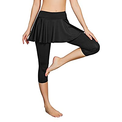 Cityoung Women's Capris Yoga Pants Tights Athletic Skorts Running Skirted Leggings Sun Protection: Clothing